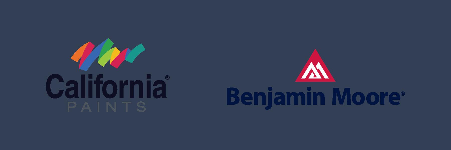 california paints and benjamin moore logos