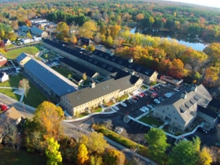 aerial view of Ames Shovel Works apartments in North Easton, MA