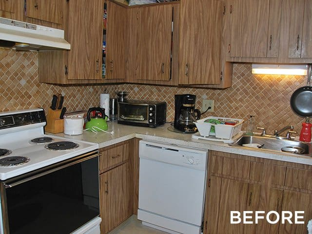 before shot of the kitchen in a Northgate apartment home in Revere, MA
