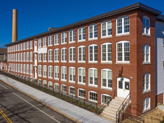 aerial shot of sterling lofts apartments in Attleboro, MA
